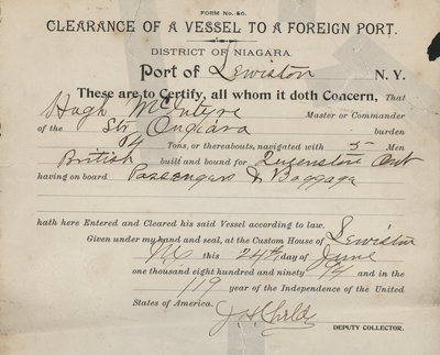 Clearance of vessel to a foreign port, 1894