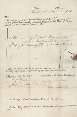 Tender for Lime for James Thompson, 1825