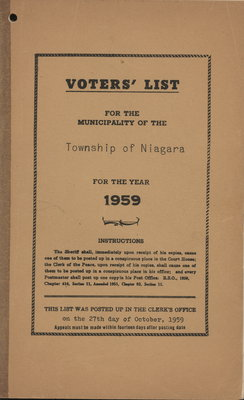Voters' list for the municipality of the Township of Niagara for the year 1959.