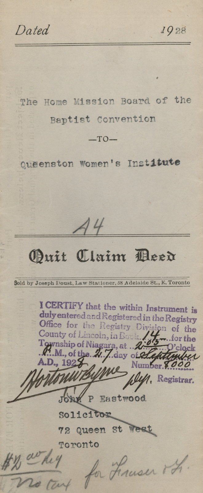 Quit Claim Deed between the Home Mission Board of the Baptist Convention and Queenston Women's Institute