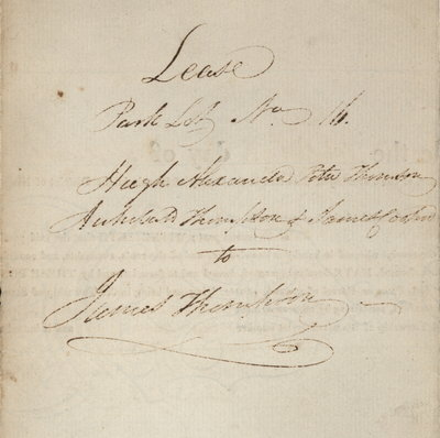 Lease Indenture between Hugh Alexander, Peter Thompson, Archibald Thompson, James Cooper and James Thompson for Lot No. 16 in Stamford, 1816.