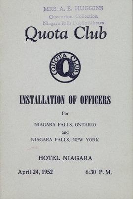 Installation of Quota Club Officers for Niagara Falls, Ontario and Niagara Falls, New York.