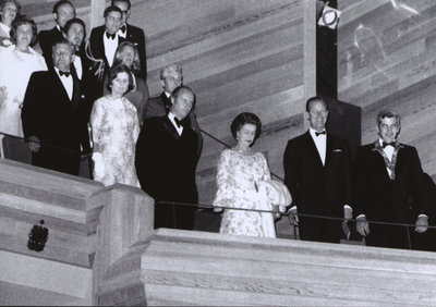 "Queen Elizabeth II during performance of ""You never can tell"" at the new Shaw Festival Theatre."