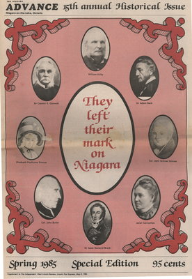They left their mark on Niagara. 15th annual Historical Issue of Niagara Advance.