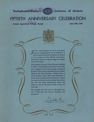 The Federated Women's of Ontario Fiftieth Anniversary Celebration (1897-1947)