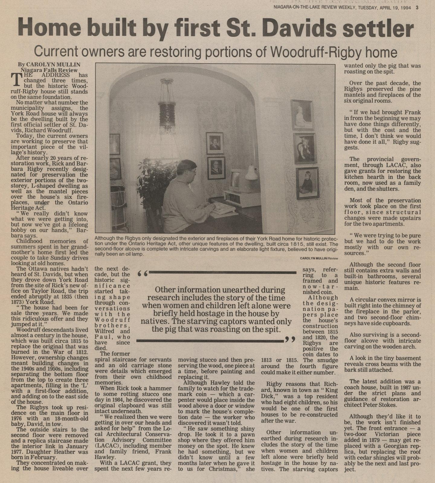 Home built by first St. Davids settler