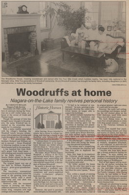 Woodruffs at home. Niagara-on-the-Lake family revives personal history