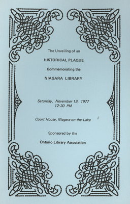 Program of unveiling of historical plaque commemorating the Niagara Library
