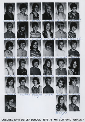Colonel John Butler Public School, 1972-73, grade 7