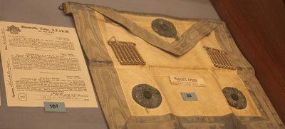 Masonic apron of Bro. E. V. Berggren.     Masonic identity card used during World War I