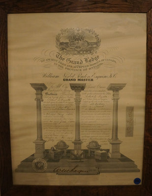 Masonic Certificate of Robert D. Fizette