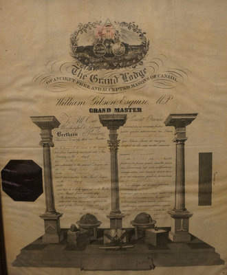 Framed Masonic Certificate of Bro. John H. Brown