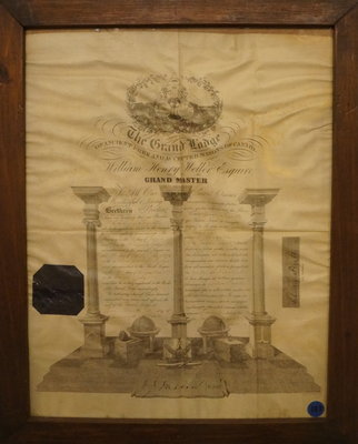 Masonic Certificate of Charles Fizette