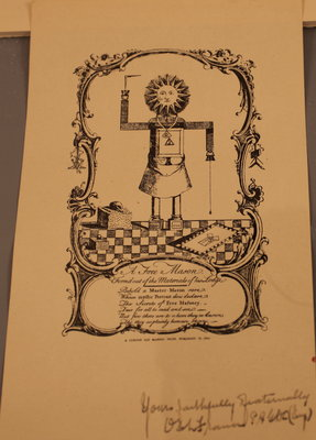 Curious old Masonic print dated 1754