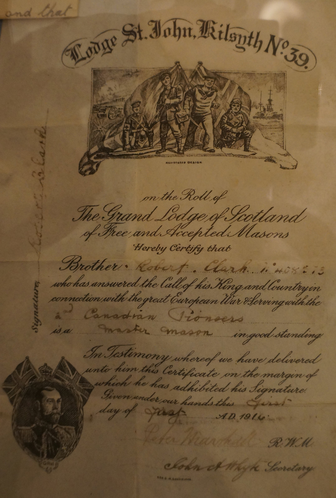 Masonic identity pass issued to soldier in World War I