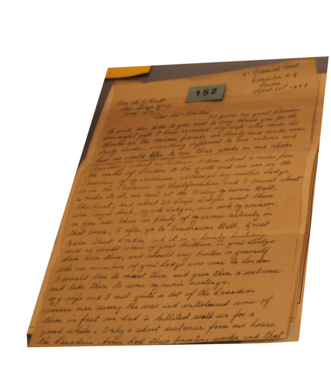 Letter of appreciation to Niagara Lodge, No. 2