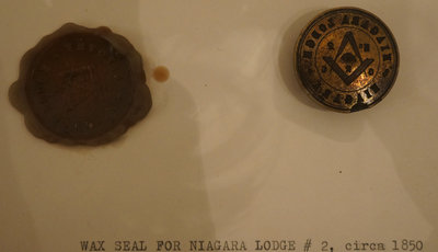 Wax seal for Niagara Lodge No. 2, circa 1850