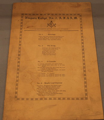 A song sheet with national and religious songs, Niagara Lodge, No. 2.