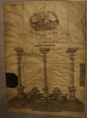 Masonic certificate of James Pendergast