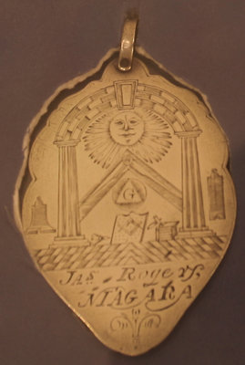 Masonic medallion engraved to James Rogers, Niagara, 1800