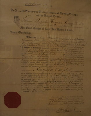 Dispensation from the First Grand Principal of Royal Arch Masons of Canada to the Niagara Chapter, Niagara-on-the-Lake