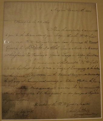 "Summons to a ""Lodge Emergency"" in Niagara, 1820"