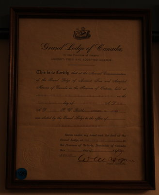 Certificate confirming the election of Richard W. Allen as Grand Registrar, 1920
