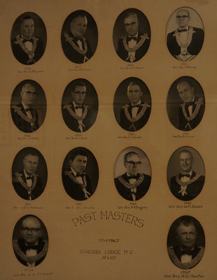 Past Masters of Niagara Lodge, No. 2, 1954-1967