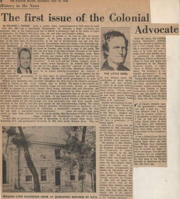 The first issue of the Colonial Advocate