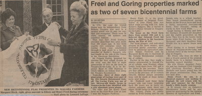 Freel and Goring properties marked as two of seven bicentennial farms