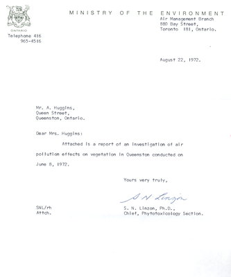 Report of an investigation of air pollution effects on vegetation in Queenston on June 8, 1972