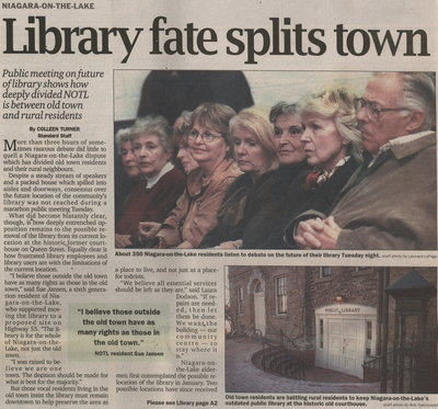 Niagara-on-the-Lake Library fate splits town