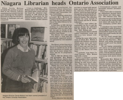 Niagara Librarian heads Ontario Association