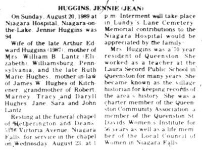 Obituary for Jean Huggins (1885-1989)