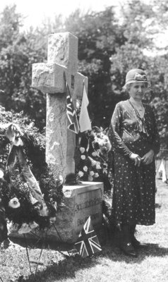 Elizabeth C. Ascher at Polish soldiers' grave