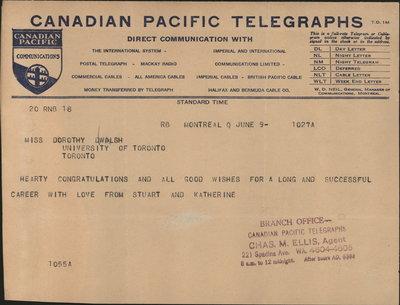 Telegram to Dorothy Walsh
