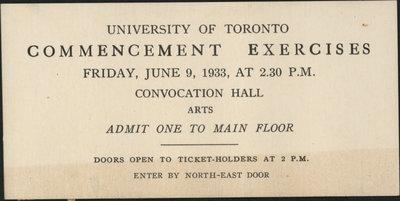 University of Toronto, Commencement Exercises Admission Ticket