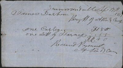 Purchase of Carriage Receipt, James Durham