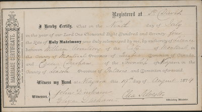 Marriage Certificate, Cassie Durham to William Armstrong