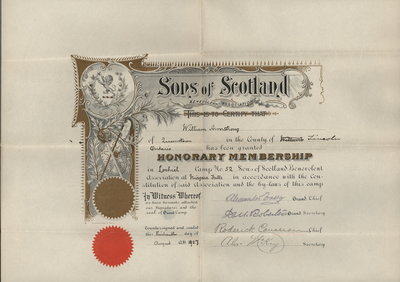 Sons of Scotland Honourary Membership, William Armstrong