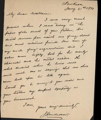 """""""My Dear Wallace"""" from J. Henderson"""