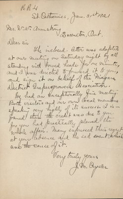 Letter to W. Armstrong from J. M. Crysler