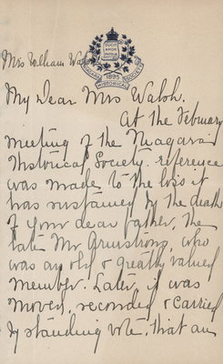 Letter to Mrs. Walsh from Elizabeth C. Ascher