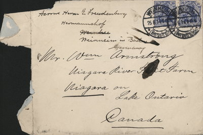 Letter to William Armstrong from Hermann Freundenberg