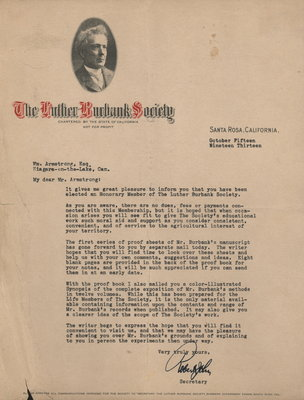 Letter from the Luther Burbank Society to William Armstrong