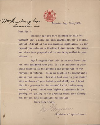 Letter from M. Dryden to William Armstrong re: Pan-American Exposition, 1902