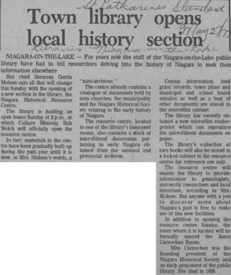 Town Library Opens Local History Section; May 22, 1977