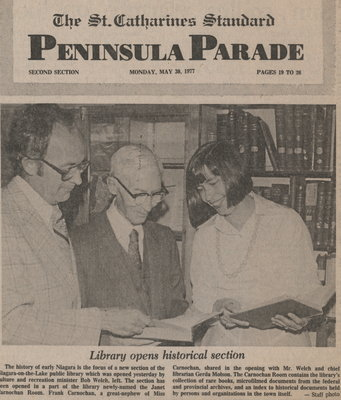 Library Opens Historical Section; May 30, 1977