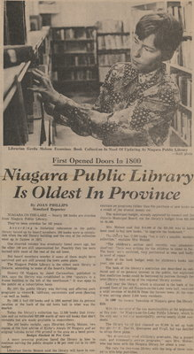 Niagara Public Library is Oldest in Province, 1967