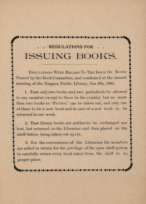 Regulations for Issuing Books